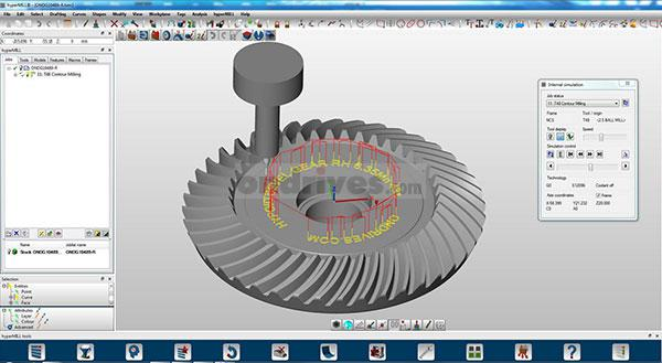 3D CAD model of a spiral bevel having text milled on to it using the Hypermill CADCAM software